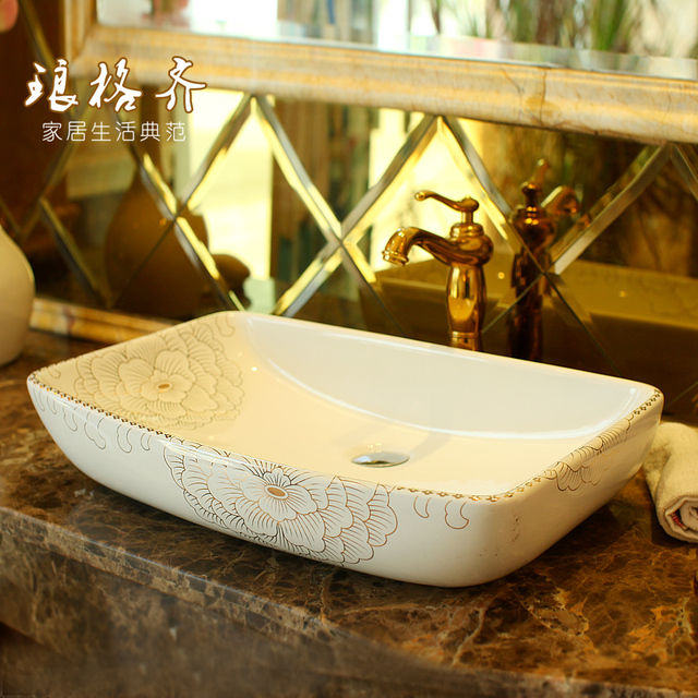Jingdezhen ceramic arts square stage basin wash basin white peony