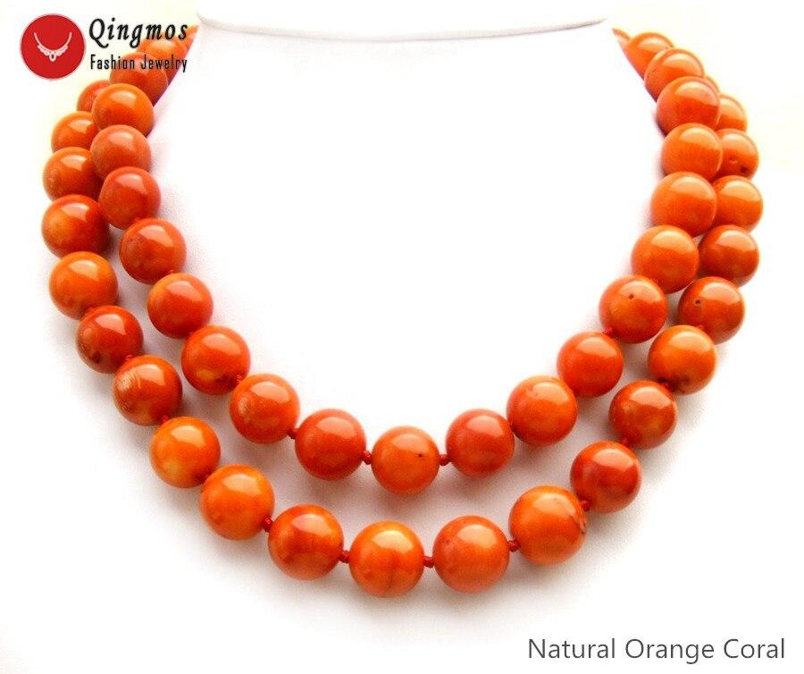 Qingmos Трендовое ожерелье из натурального коралла для женщин с 2 нитями 14 15 мм оранжевое круглое коралловое ожерелье ювелирные изделия чокеры