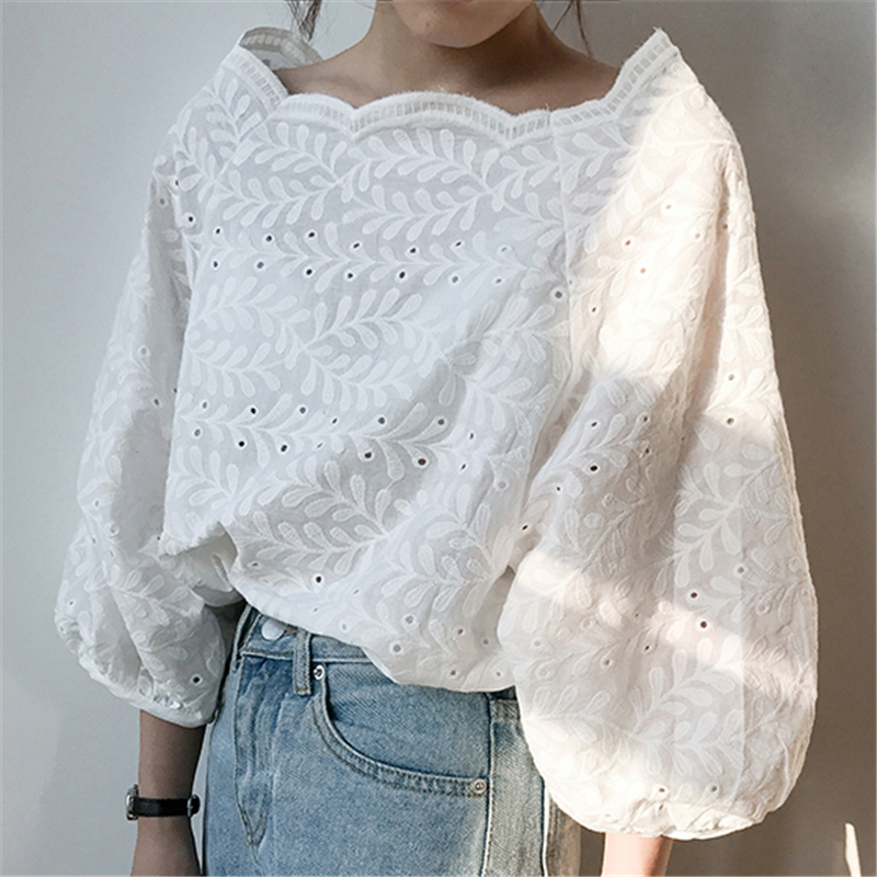Women Spring Autumn Lace   Blouse   Slash Neck Puff Sleeve Fashion   Blouses     Shirts   Female Casual Clothing Hollow Out Lace Tops O174