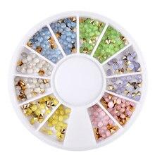 Opal Nail Rhinestone 3D Nail Decoration Wheel 1 BOX 2.5mm Colorful Sharp Bottom Manicure Nail Art Jewelry Accessories 1 box colorful rhinestone crystal flat bottom heart teardrop design 3d nail decoration manicure nail art decoration