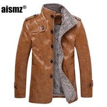 Aismz Brand Fashion Mens PU Leather Jacket High Quality Plus Size Business Casual Male Leather