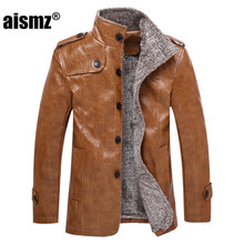 Aismz Brand Fashion Mens PU Leather Jacket High Quality Plus Size Business Casual Male Leather motorcycle Jackets Coats 7998