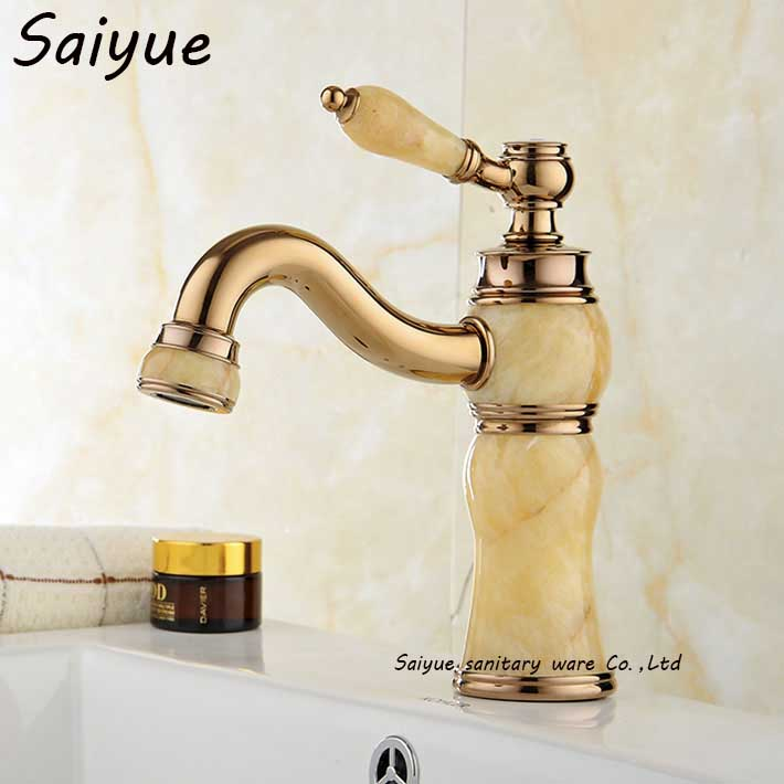 Royal Yellow Ceramic  Faucet Basin Hot and Cold Jade Taps Rose Gold Lavatory  Bathroom Grifo Marble Stone FaucetRoyal Yellow Ceramic  Faucet Basin Hot and Cold Jade Taps Rose Gold Lavatory  Bathroom Grifo Marble Stone Faucet