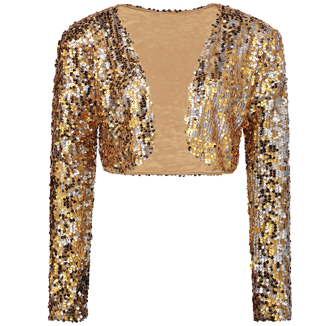 0ded20d9d4c9dd Sparkly Sexy Women Sequin Cardigan Jacket Coat Long Sleeve Short Cropped  Bolero Shrug Clubwear Vintage Party