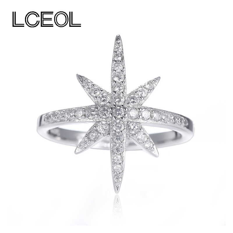 lceol hot sale free shipping hexagram design ring zircon