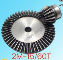 цена на 1Set 2M-15/60Teeths Metal Umbrella Bevel Gear 90 Degrees 4 :1 Transmission