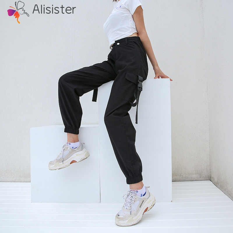 Fashion Hip Hop Casual Joggers Black Women Cargo   Pants     Capri   High Waist Loose Female Street Trousers Korean Ladies   Pants   S/M/L