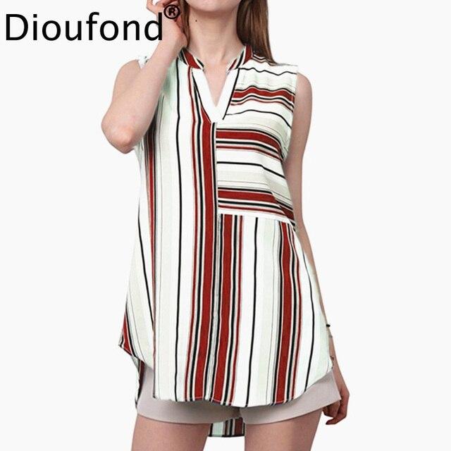 2061e8b59b14f Dioufond Sleeveless Women Striped Blouses Chiffon Casual Tops V-Neck Geometric  Print Ladies Shirt Plus Size Fashion Blouses 2018