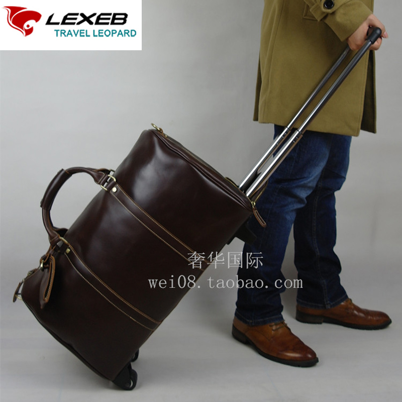 LEXEB Brown Wheeled Luggage For Suit, Men's Full Grain Leather Suitcases And Trolley Duffle Bags 21 Inch Hand Classic Koffer