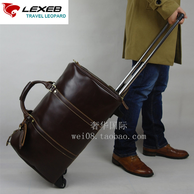 d3a36149c1 LEXEB Brown Wheeled Trolley Luggag For Suits Unisex Full Grain Leather  Suitcases And Trolley Duffle Bags 20