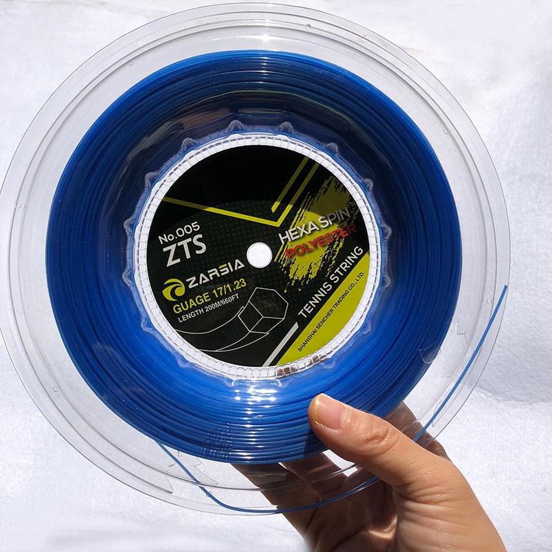 200m Genuine ZARSIA Taiwan HEXA SPIN Hexagonal Spinning Polyester Tennis String 1.23mm Durable Tennis Racket String