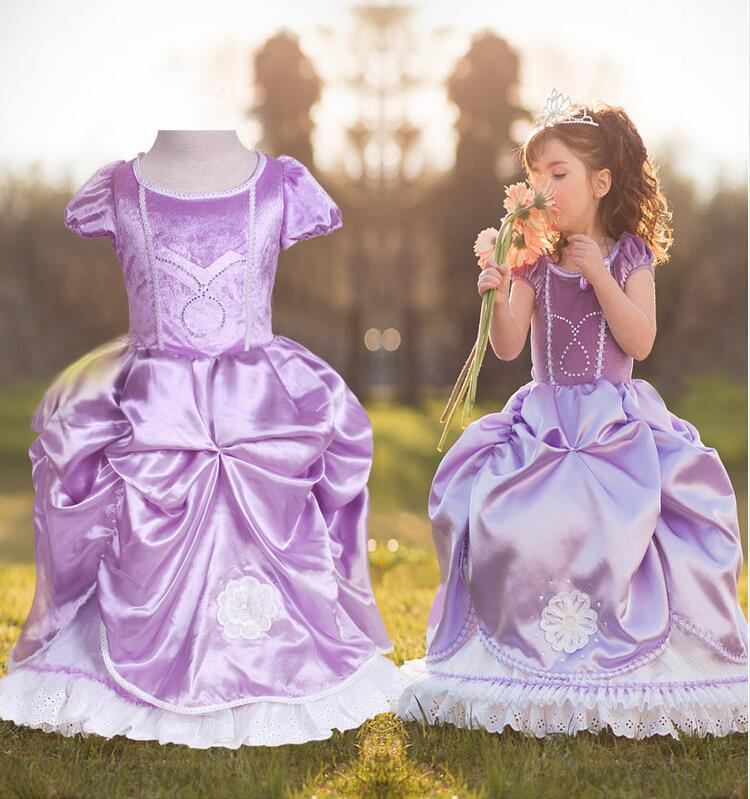 big size 100 150girls sofia princess dress 2017 new children baby girl winter dress kids wedding or party dresses purple