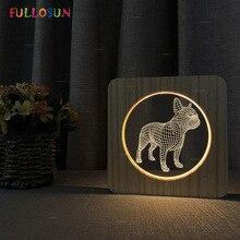 Bulldog 3D Illusion Lamp USB LED Wood Acrylic Nightlights Round Warm Color Lampe for Christmas Baby Night Light