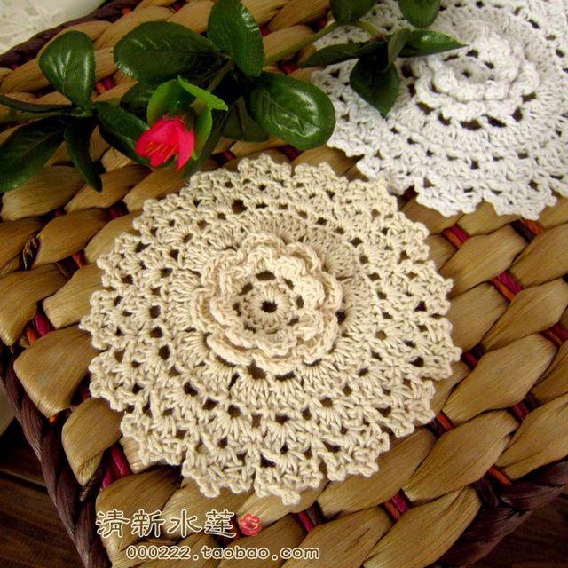 wholesale 3D rose hand made crochet doily, cotton cup mat, round coaster 12colors to choose 12cm crochet applique 20PCS/LOT