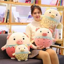 WYZHY Down cotton soft body fruit pig pillow doll plush toy bedside ornaments to send friends and children gifts 40CM