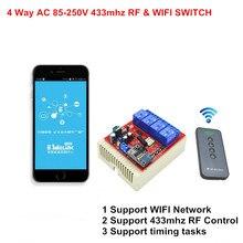 Новый wi-fi переключатель 4ch 110 В 220 В ac 10a умный свет коммутаторы поддерживают 433 мГц рф пульт дистанционного управления by смартфон приложение
