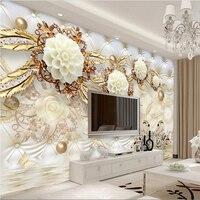 Beibehang пользовательские фото обои стикер 3D росписи 3D роскошные золотые белый цветок мягкий мешок мяч изделия ТВ стены papel де Parede