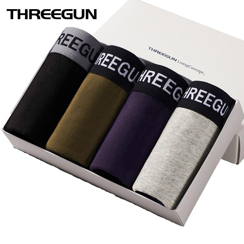 THREEGUN 4Pcs/Lot Boxer Shorts Sexy U Convex Underwear Men Cotton Gay Underwear Male Brand Large Size Underpants vetement homme