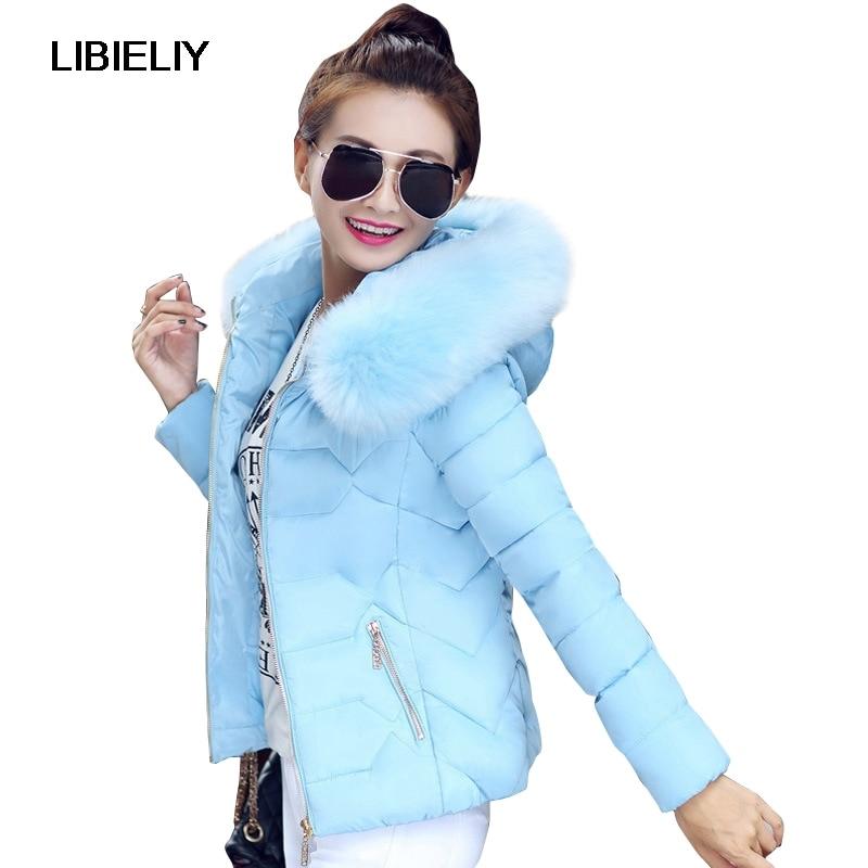 Nice High Quality Women Winter Big Fur Hooded Collar Coat Female Outerwear Ladies Warm Short   Basic     Jacket   Slim Jaqueta Feminina