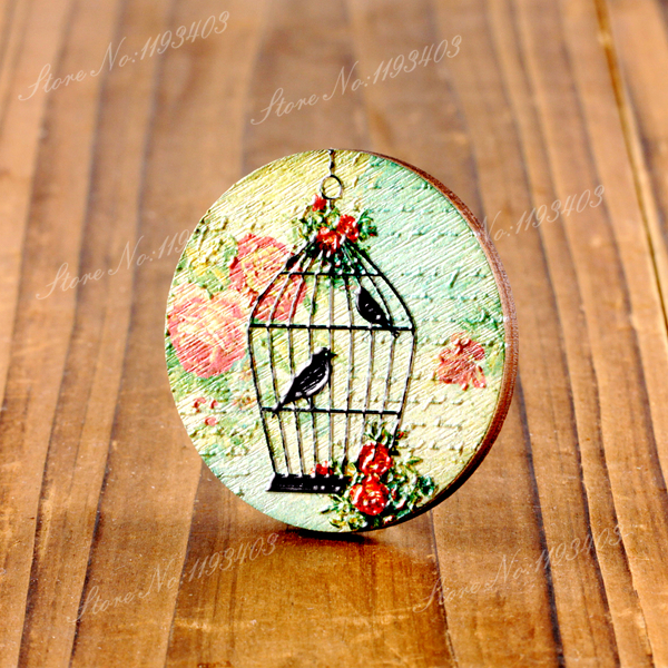2Pcs 45mm Cage 3D Embossed Big Round  Coloured Drawing  Wood Cut Pendant  DIY make Brooch Necklaces-(WIB-9)