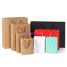 d5b0baa8bee0e 100 قطعة الوحدة 10 حجم 5 ألوان كرافت ورقة حقيبة مع مقبض الزفاف حزب الإحسان  ورقة هدية أكياس مصنع الجملة