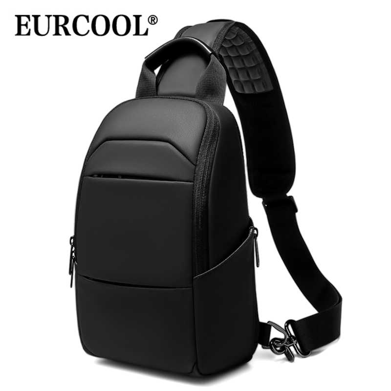 "EURCOOL NEW 9.7"" iPad Crossbody Bag Men Short Trip Chest Pack Fashion Messenger Bags Water Repellent Shoulder Bag n1910"