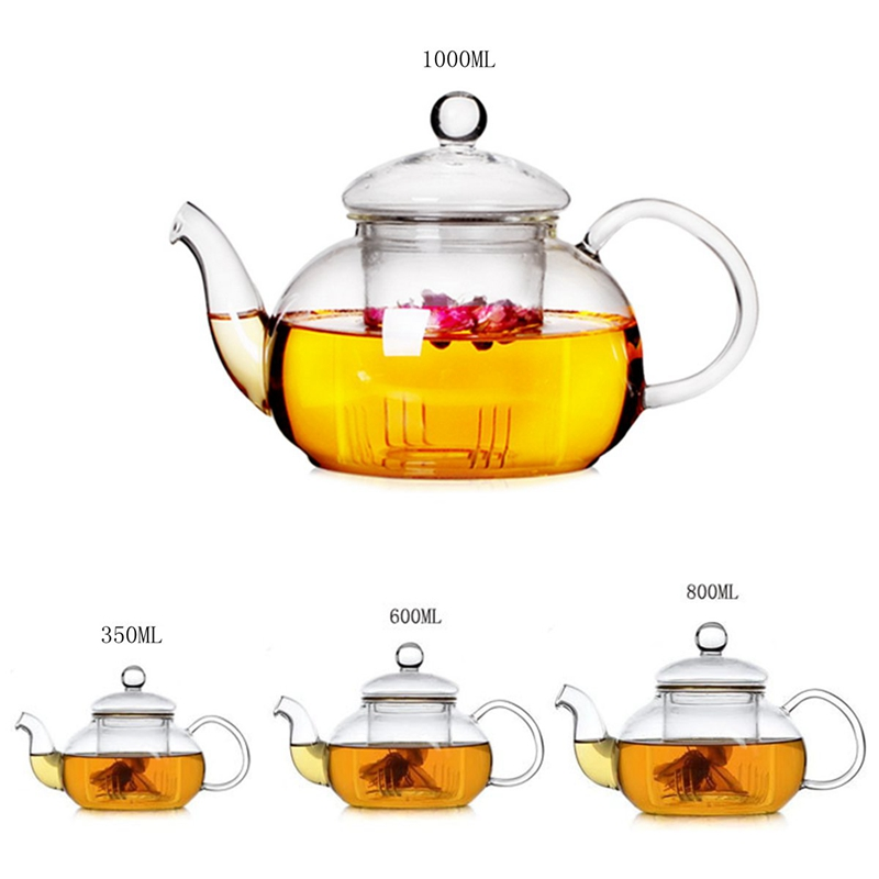 Heat Resistant Glass Teapot With Infuser 350ML/600ML/800ML/1000ML Coffee Tea Leaf Herbal Home Office Drinkware Teasets