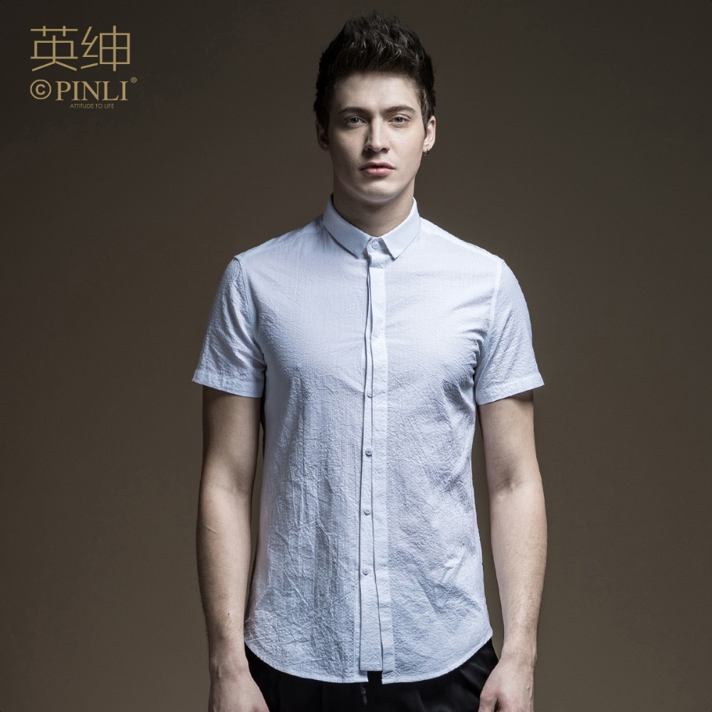 19dbf3f956d Free Shipping New fashion male Men s man Summer solid color England  gentleman white 100% Cotton short-sleeved shirt S172213061