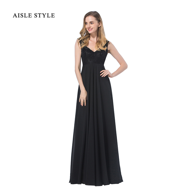 Aisle Style Cap Sleeved Vintage Black Lace Bridesmaid Dresses Long ...
