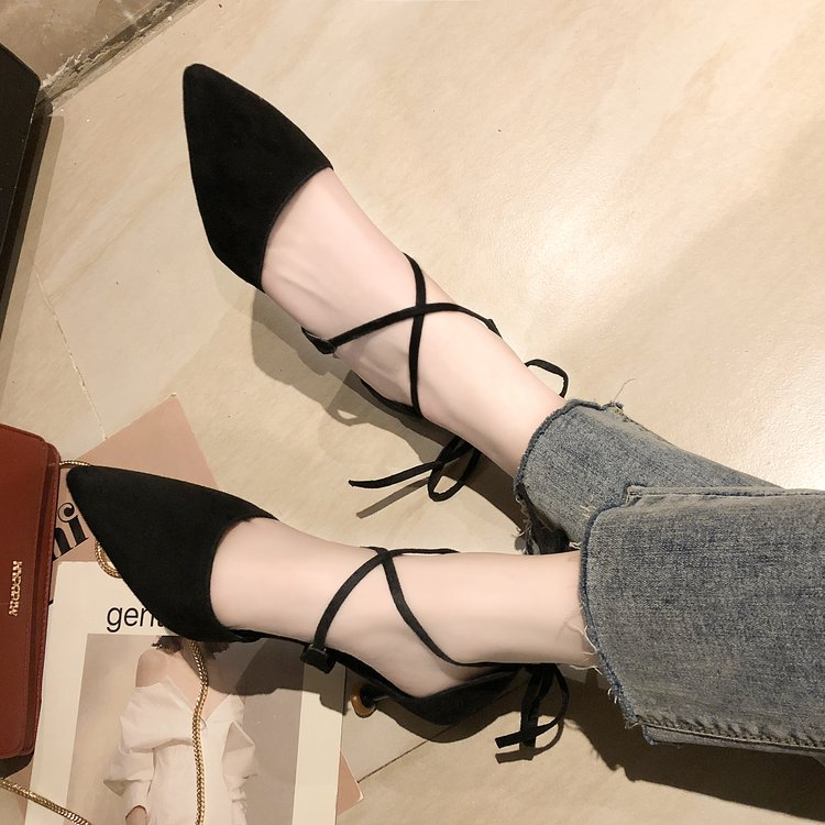 Single-Shoes Pointed High-Heels Women's Spring New Mouth Thin 6cm Shallow Korean Wild