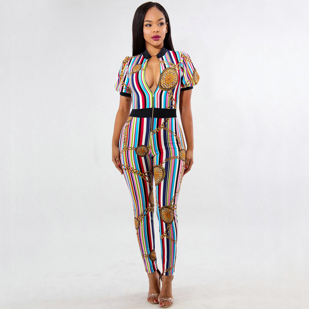 2018 Europe and America Fashion Tight Women's Jumpsuit Iron Chain Print Party/Club Jumpsuit Sexy Summer Multi Striped Jumpsuit