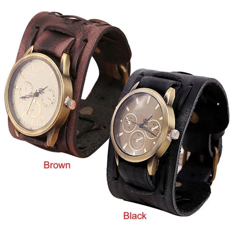 New Style Retro Punk Rock Brown Big Wide Leather Bracelet Cuff Men Watch Cool Reloj Hombre Vintage Watch Man Women  Watch 2017 punk style golden color men s cuff bracelet
