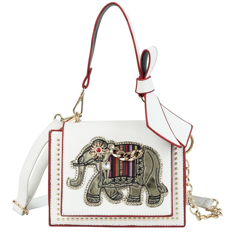 Damentaschen Witfox Leder Brieftasche Frauen 2019 Luxus Schafe Haut Echtem Leder Schulter Tasche Stickerei Elefanten Muster Damen Taschen Weibliche