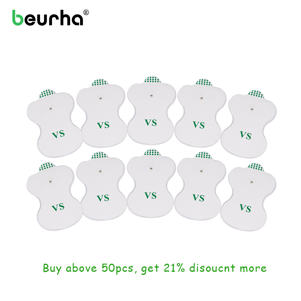 Beurha 10Pcs Electrode Pads for Digital TENS Therapy Machine Electronic Cervical Vertebra Physiotherapy Massager Pad Medium 1pcs dual output mini electronic slimming body physiotherapy tens therapy massager machine electrode pads electrostimulator
