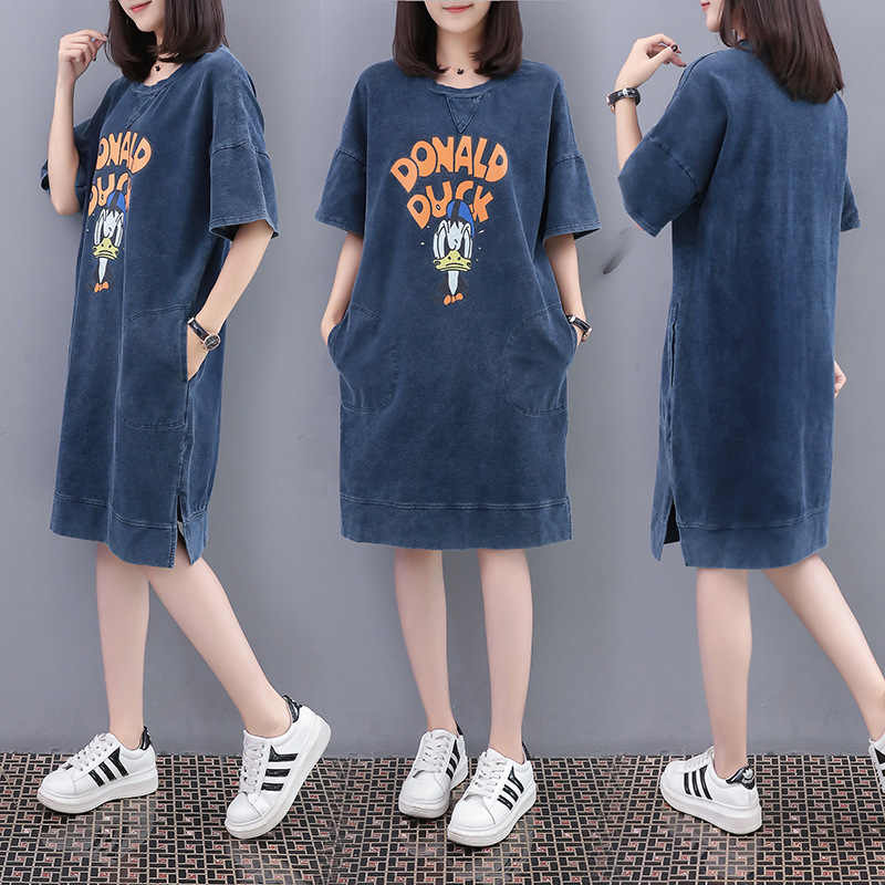 a79b06cc707 New Summer Style Women Dresses Plus Size Fashion Casual Loose O-Neck Letter  Print Jeans