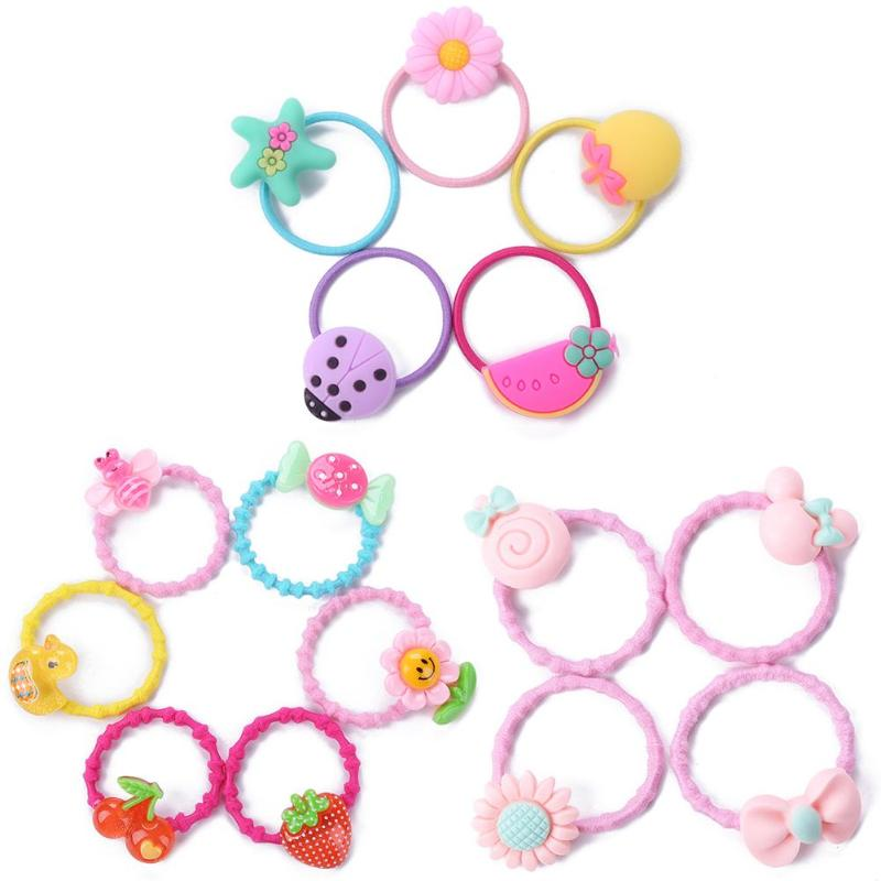 40pcs Girls Rubber Hair Band Cute Children Hairpin Claw Clip Set Kids Cartoon Headwear Lovely Baby Hair Ornaments Random Color