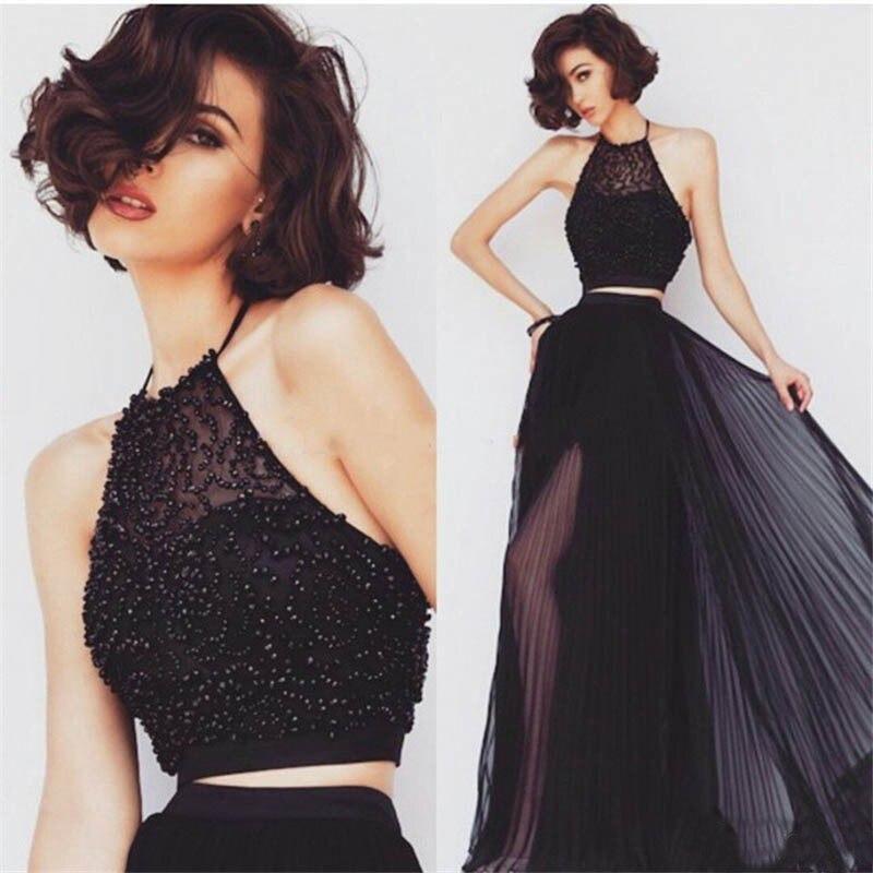 Black Two Piece Set   Prom     Dresses   Long Women Halter Neck Side Split Evening   Dress   for Graduation Party Homecoming
