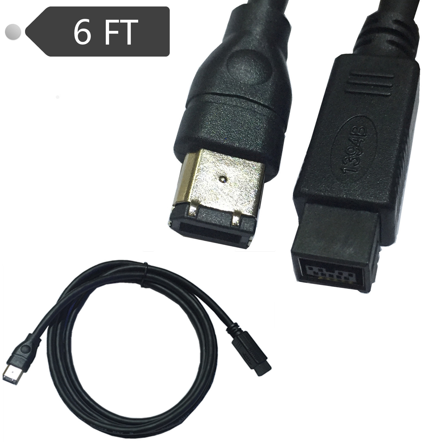 Black IEEE 1394 Firewire 800 to Firewire 400 Cable, 9 Pin/6 Pin Male ...