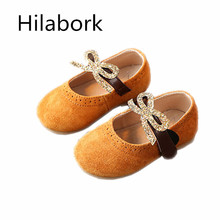 2017 spring new matte leather children's shoes leather sweat anti-skid breathable bow girl leather shoes 1-3 year old baby shoes