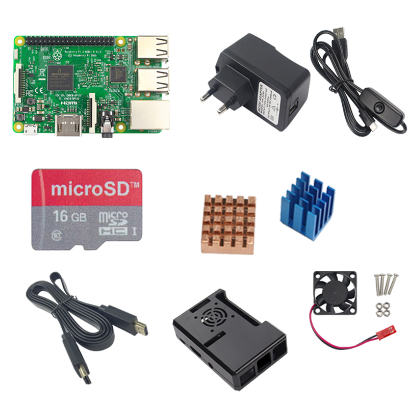 ФОТО RS Raspberry Pi 3 Model B+16G TF SD+5V 2.5A Power Adapter with switch cable+RPI 3 ABS Case fan+2pcs Heat Sink + 1.5M HDMI Cable