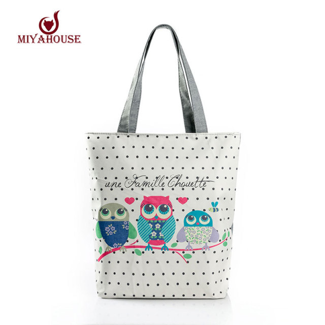 Cartoon Owl Print Casual Tote Lady Canvas Beach Bag Female Handbag Large Capacity Daily Use  Women Single Shoulder Shopping Bags