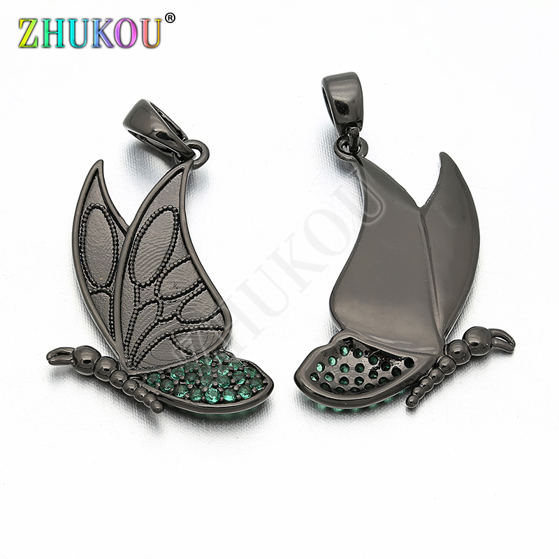 16*28mm Brass Cubic Zirconia Butterfly Charms Pendants DIY Jewelry Findings Accessories, Hole: 2.5mm, Model: VD215