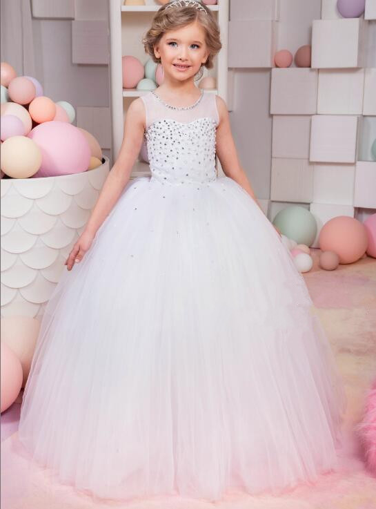 New Ball Gown Flower Girls Dresses for Wedding White Ivory Lace Pearls Beaded Birthday Girls Princess Communion Dress