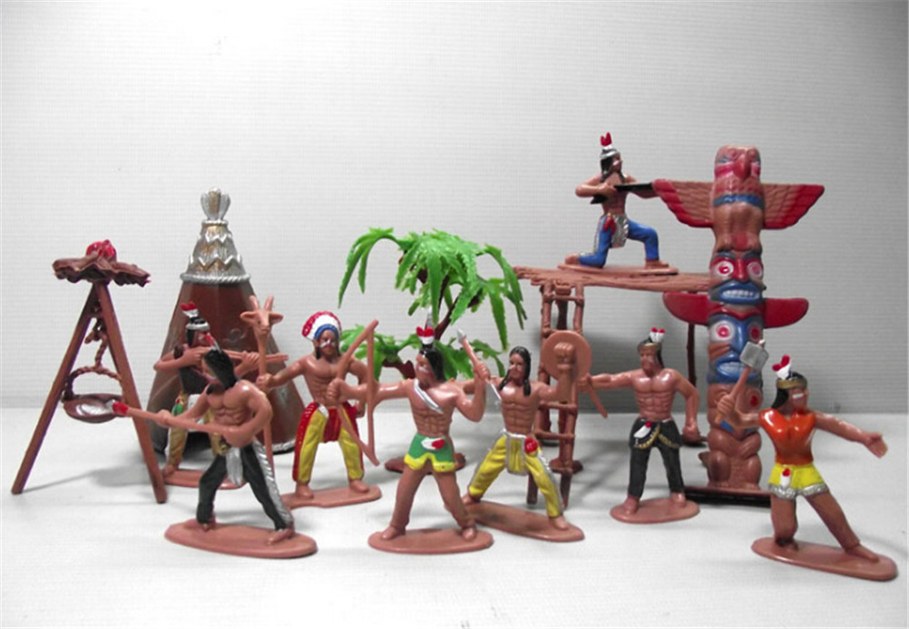 13pcs/set Native Plastic Indian Tribes Model American Art Figure Doll Toy (Size: 7 Cm)