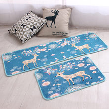 Elk Printed Door Mats Indoor Corridor Mats Water Absorption Kitchen Mats For Floor Chilren's Bedroom Rugs Bedside Mats Bath Rugs(China)