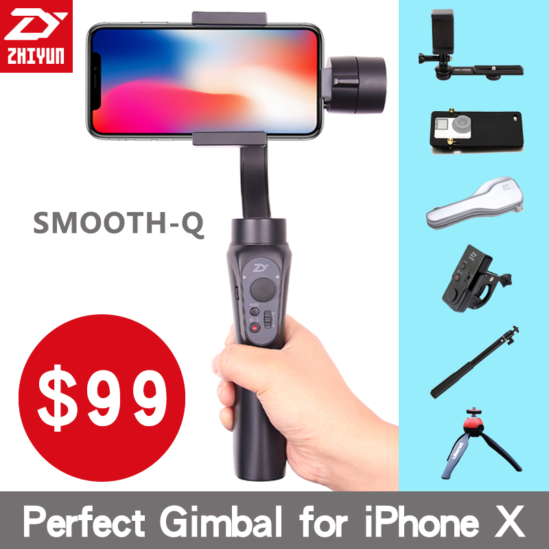Zhi Yun Zhiyun Smooth Q Gimbal 3-Axis Brushless Handheld phone Stabilizer for iPhone X 8 Xiaomi /Gopro 5 4/SJCAM YI CAM Smooth Q
