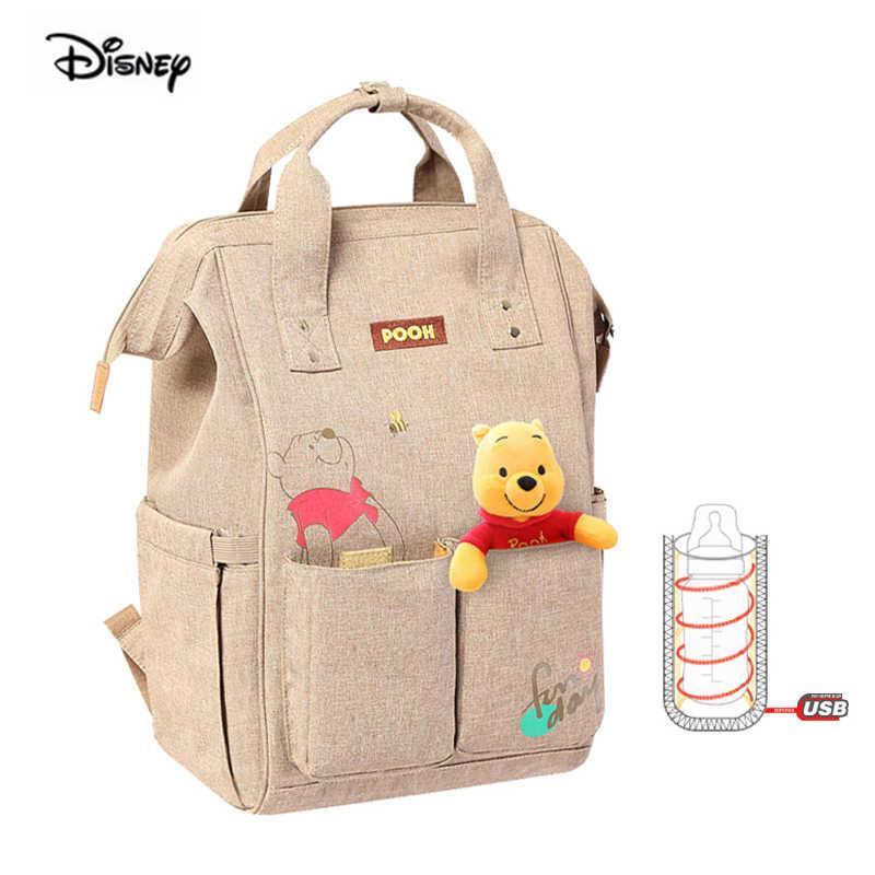 Calentador USB de Disney multifunción de gran capacidad pañal mochila Rosa Minnie Mickey Mouse bebé madre bolsa maternidad bolsa