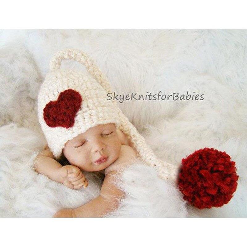 Christmas Gift Sweet Heart Baby Hat Handmade Crochet Newborn Photography Props Children Knitted Beanies Retail H090