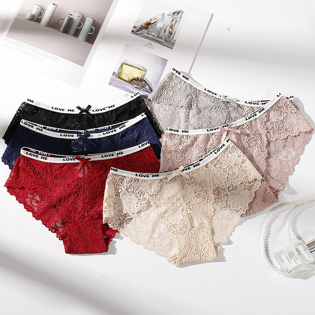 497a8b2ac Mid-Rise Women Cotton Underwear Panties Fashion Cozy Soft Lingerie Briefs  Sexy Lace Panties Wholesale