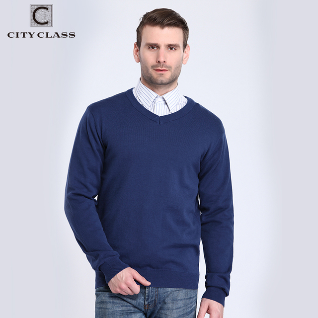 CITY CLASS 2017 Mens V-neck Sweaters Spring Autumn Solid Color Long Sleeve Plus Size Cotton Knitted Sweater For Male 3560